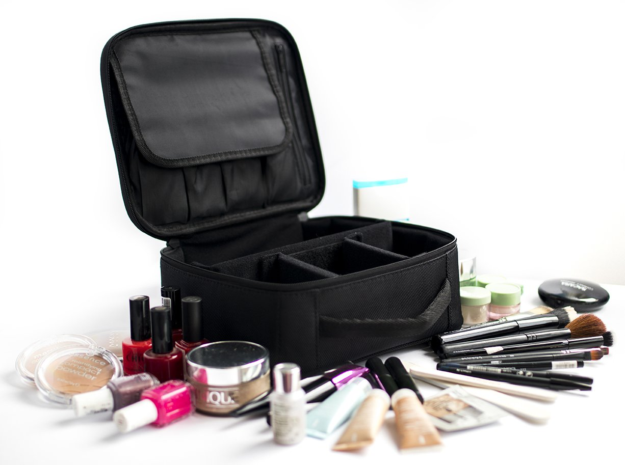 Travel Makeup Bag - Portable Waterproof Toiletry Make up Bag/Travel Case for Cosmetic/Makeup Train Case with Hard Cover/Size 9.8'' (Black) by Best Com