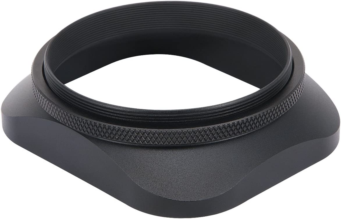 Haoge LH-B58T 58mm Square Metal Screw-in Mount Lens Hood Shade with Cap for 58mm Canon Nikon Sony Leica Leitz Carl Zeiss Voigtlander Nikkor Fujifilm Olympus Lens and Other 58mm Filter Thread Lens