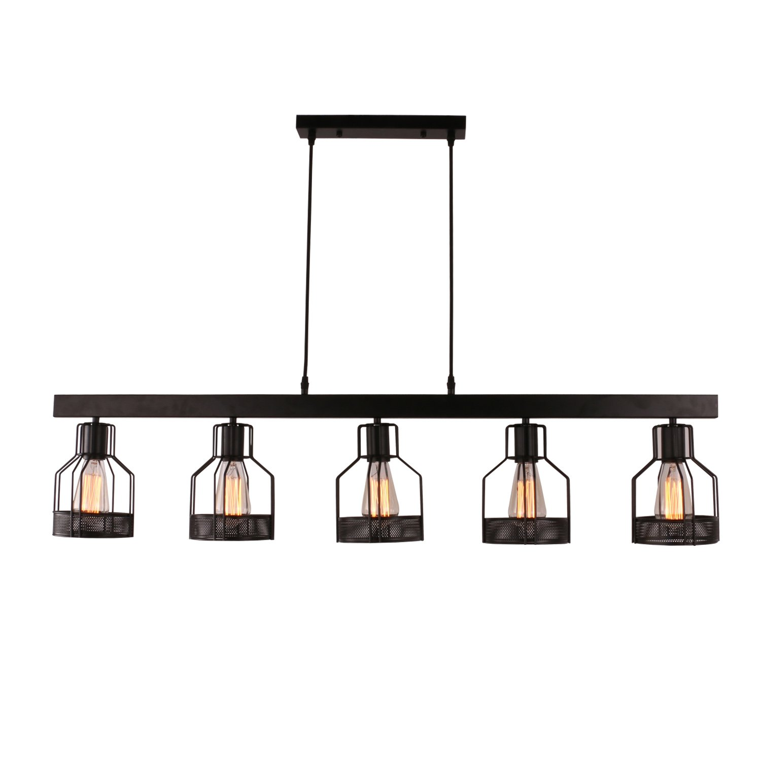 Unitary Brand Antique Black Metal Long Kitchen Island Light with 5 E26 Bulb Sockets 200W Painted Finish