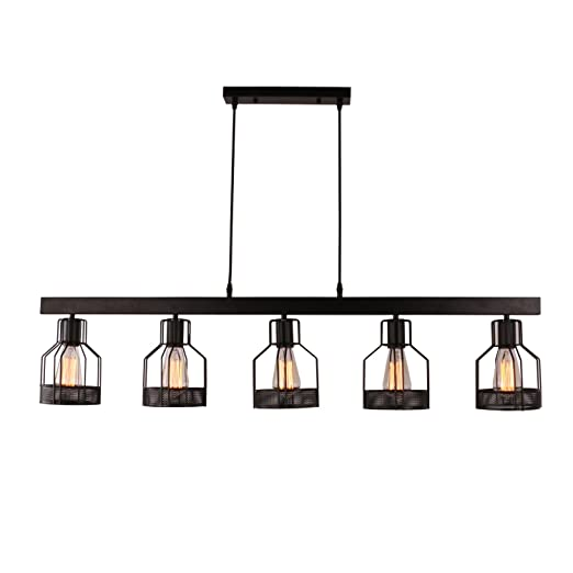 Miraculous Unitary Brand Antique Black Metal Long Kitchen Island Light With 5 E26 Bulb Sockets 200W Painted Finish Interior Design Ideas Truasarkarijobsexamcom