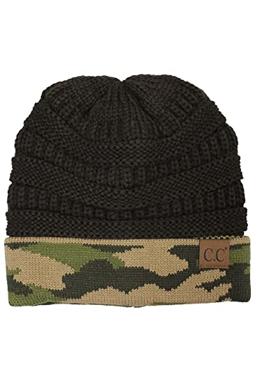 ecb0509dd59 ScarvesMe CC Hot and New Camouflage Camo Print Knit Cuff Beanie Warm Winter  Hat Skully Cap (Brown) at Amazon Women s Clothing store