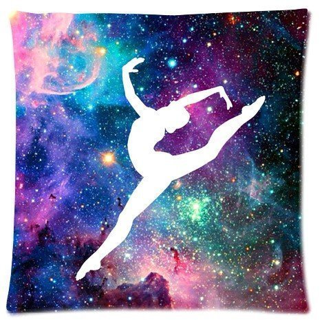 Gymnastic Galaxy Pillowcase zip 18x18 (Twin sides) Custom Zippered Pillow Cover Cases