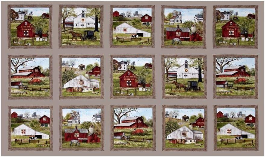 """Elizabeth's Studio """"Headin' Home Blocks 36 In. Panel"""" Quilt Fabric, Sepia"""