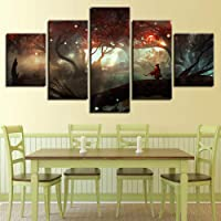 LAKHAFZY Tela Stampa Moderna Frameless Cartoon Character Landscape Home Decoration Painting Living Room Dining Room Bedroom Five Consecutive Paintings