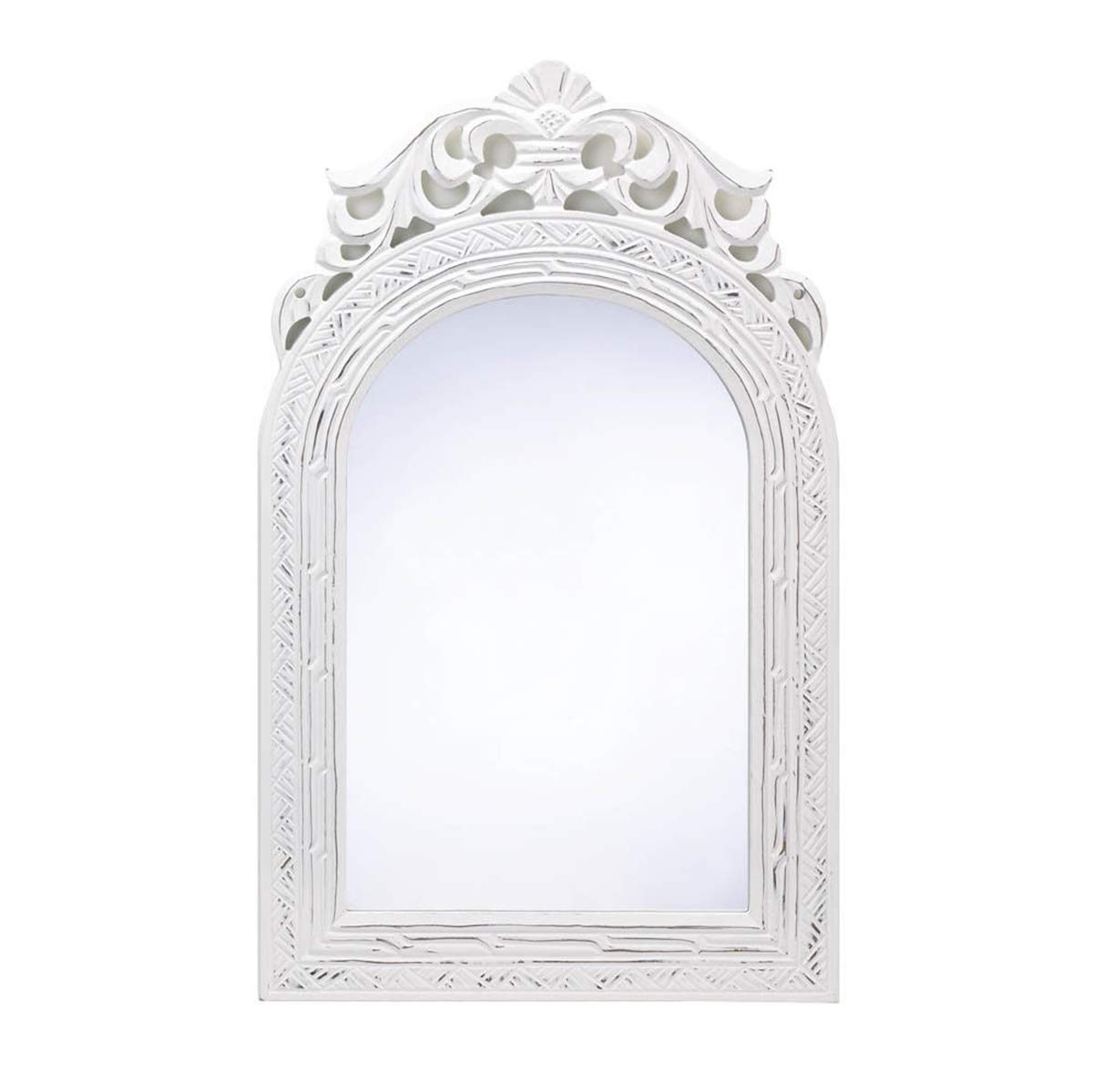 Osgarshop Wall Shabby Distressed Mirror White Wood Vintage Chic Arched Bathroom Entry Carved Cottage Weathered Farmhouse French Decor Style Panel Country