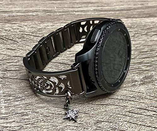 - Brushed Gunmetal Black Bracelet For Samsung Gear S3 Smart Watch Handmade Flowers Design Samsung Gear S3 Watch Band Black CZ North Star Jewelry Charm Adjustable Size Bangle