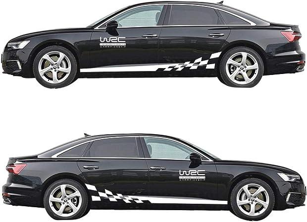Universal Gestreifte Auto Aufkleber Car Racing Body Auto Karosserie Seitenstreifen Aufkleber Für Alle Autos Wrc Weiß Auto