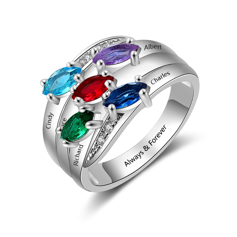 MadisonAva Anniversary Rings for Women Engraved 5 Names Personalized Mom Rings with 5 Simulated Birthstones Grandmother Rings (White, 8)