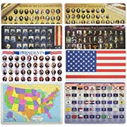 Painless Learning Educational Placematsfor Kids USA Map, USA States Flags, Presidents, USA Flag, Civil War Generals, Revolutionary War Leaders, Signers and Declaration 8 Pack