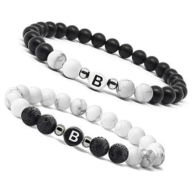 5274a482c656d B.BOXX Lettre Bracelet en Pierre De Lave Naturelle Turquoise Onyx, Bracelet  Amitié Couple avec Charme Initial pour Hommes Femmes, Bracelet Réglable ...