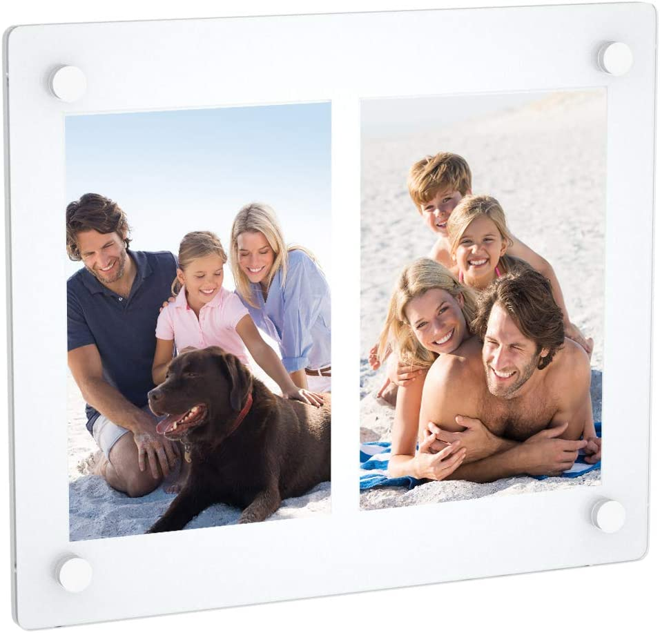 NIUBEE 2 Opening 4x6 Collage Picture Frame, Acrylic Wall Hanging and Desktop Photo Display with Mat (White)