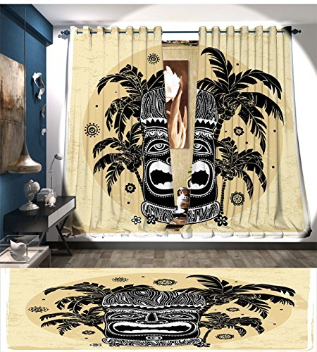 Littletonhome Tiki Bar Decor Thermal Insulating Blackout Curtain Tiki Mask Figure Palm Trees Ornate Flowers Sunny Summer Party Print Patterned Drape For Glass Door Brown White Yellow ()