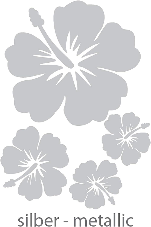 Dd Dotzler Design 4 Hibiskus Blüten Silber Metallic Set Autodekorbogen Aufkleber Autoaufkleber Tattoo Blumen Floral Car Auto