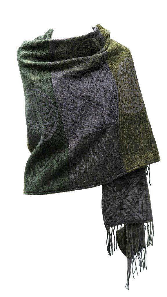 Irish Shawl Wrap Chenille & Wool Green 71'' x 29'' Made in Scotland