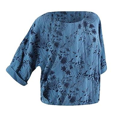 SEWORLD Oberteil Bluse Elegant Kleid Damen Freizeit Lose Rundkragen Spitze der Art und Weise Frauen Lose Kurzarm Kost/üme Drucken Tank Top T-Shirt Tunika