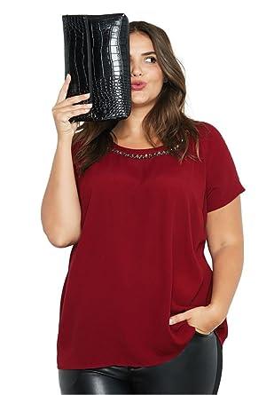 219063c2ef0 Ellos Women's Plus Size Jewel Embellished A-Line Top - Rich Burgundy, ...