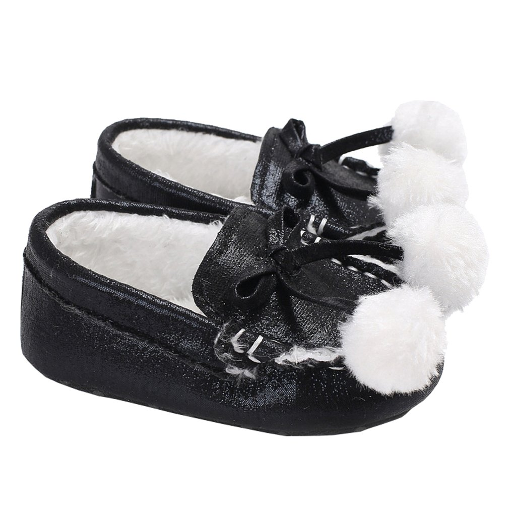 Baby Girls Sparkle Shiny Pom Pom Plush Lining Moccasins Loafers Dress Crib Shoes
