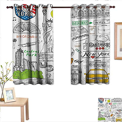 BlountDecor American Drapes for Living Room New York City Culture Metropolitan Museum Broadway Crossroad Wall Street Sketch Style 63