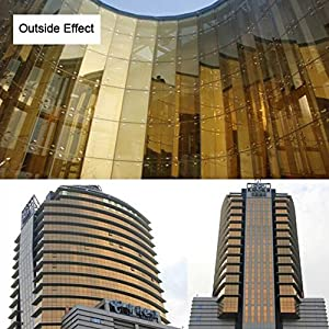[HOHO] One Way Mirror Film Reflective Solar Tint Anti-UV Home Building Window Tint Film 60''x20'' (Gold)