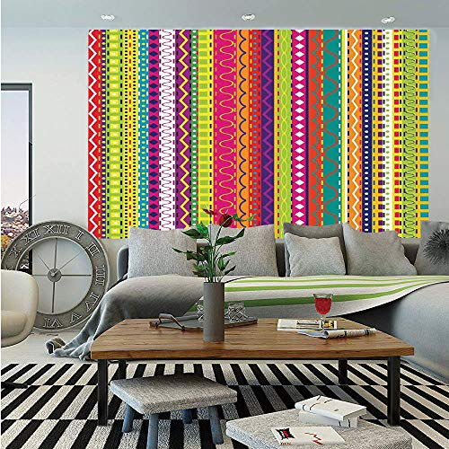 Striped Wall Mural,Vertical Lined Bound Striped Mix Shapes with Ethnic Influences Vintage Vivid Graphic,Self-Adhesive Large Wallpaper for Home Decor 83x120 inches,Multi