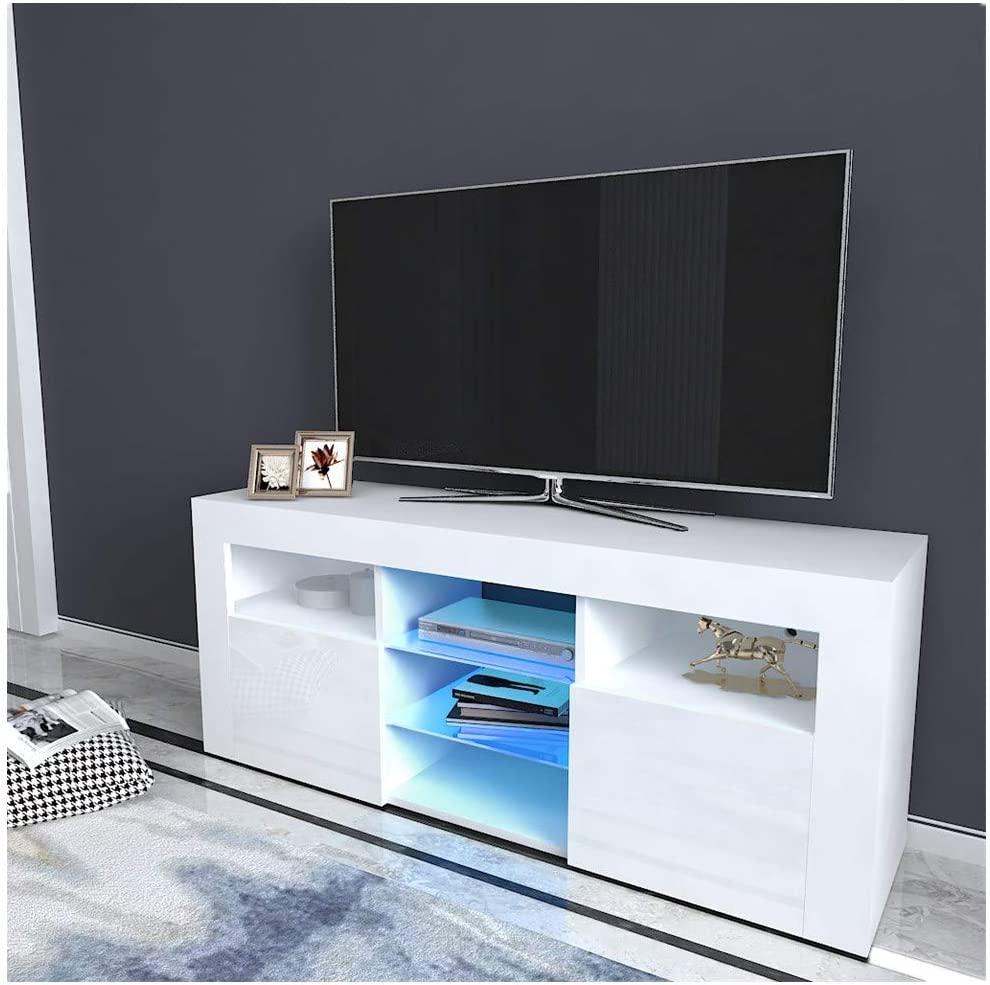 Tv Cabinet Household Decoration Led Tv Stand Storage Organizer With 2 Drawers Used For Living Room Entryway Office White Television Accessories Zuiverlucht Tv Mounts Stands Turntables