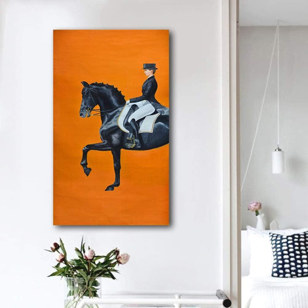 Pintura moderna del arte de la lona de las carreras de caballos del color anaranjado para la sala de estar Impresión del cartel Imágenes decorativas Arte de la moda