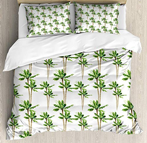 MIGAGA Palm Tree King Size Duvet Cover Set, Watercolor Style Forest Pattern of Coconut Trees Lush Growth Ecology, Decorative 3 Piece Bedding Set with 2 Pillow Shams, Green Cocoa and White