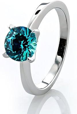 925 Sterling Silver Rhodium Plated wBlue Mint Cubic Zirconia Gems