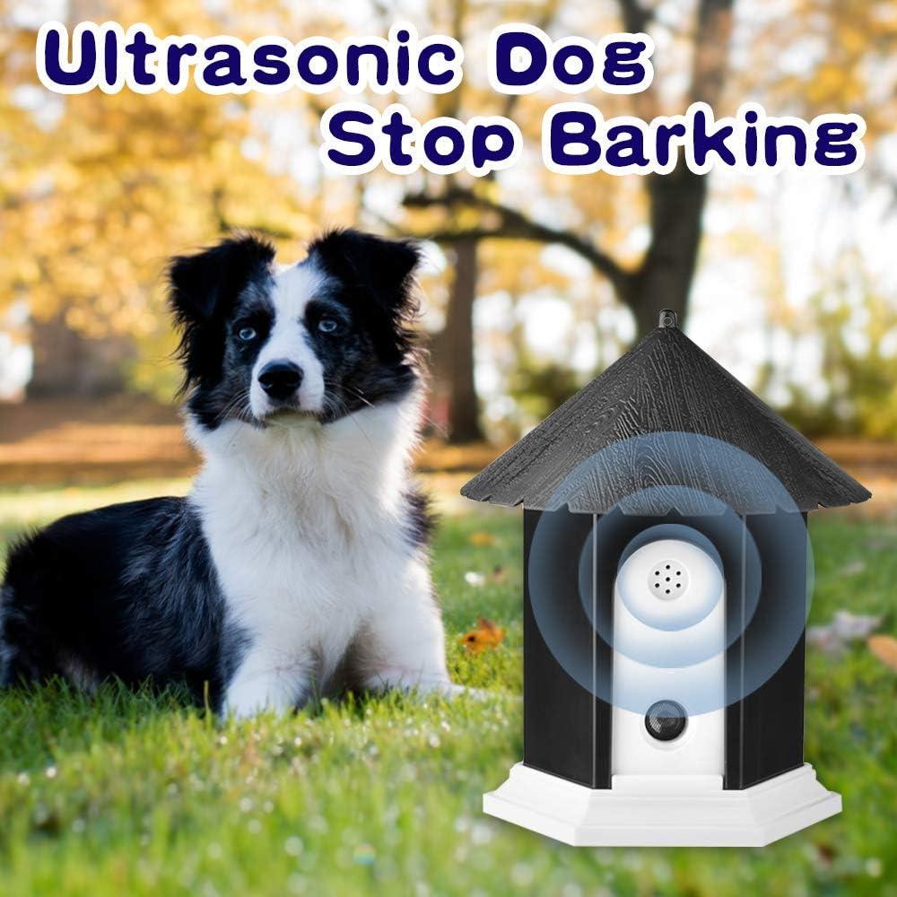 Waterproof Ultrasonic Stop Barking Dog Repellent Sonic Bark Deterrents Dog Silencer Bark Box for Small Medium Large Dogs in Birdhouse Shape Outdoor Bark Control Device Anti Barking Device