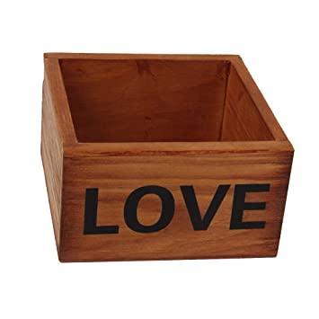 Small Retro Wooden Storage Box Without Lid 9.6 X 9.4 X 5.2cm LOVE