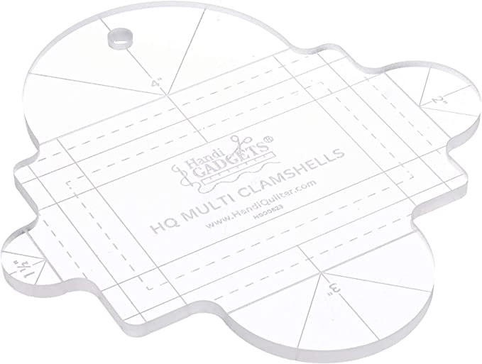 HQ Multi Clamshells Template Ruler for Quilting Handi Quilter 1//4 Inch Thick