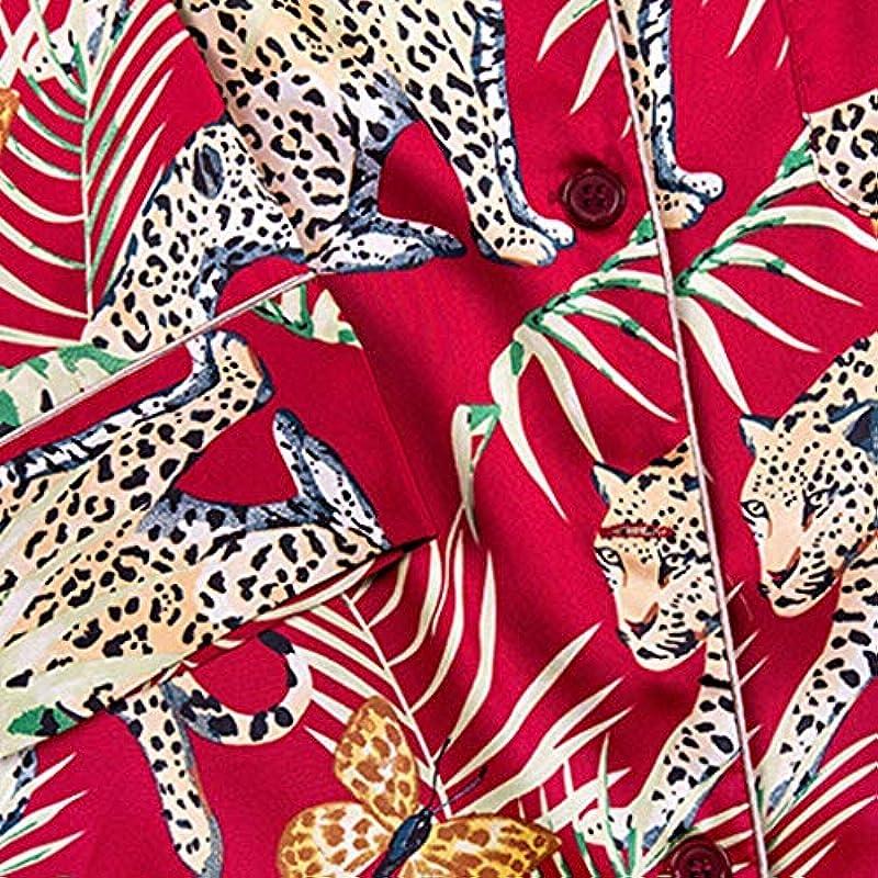 Z.L.FFLZ Schlafanzüge Men Nachtwäsche Frühlings-Herbst-Männer Simulation Silk Pyjamas Sexy Nachtwäsche Man Applikationen Drucken (Color : Wine, Size : XXL): Küche & Haushalt
