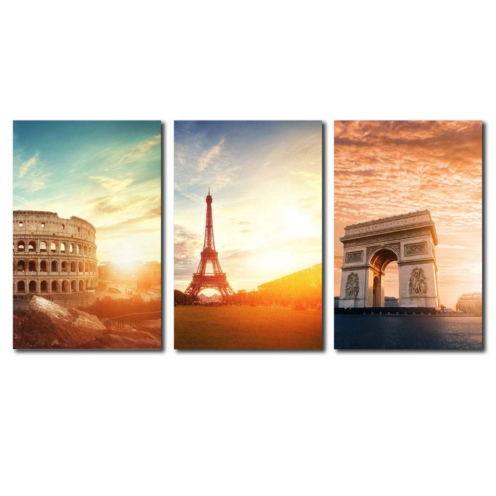 Cairnsi 3 pieces canvas prints wall art paintings colosseum eiffel tower and triumphal arch landscape modern pictures stretched and framed ready to hang for