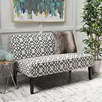 Charlotte Grey Geometric Patterned Fabric Love Seat