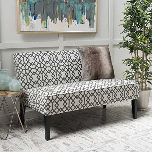 Christopher Knight Home 299747 Charlotte Grey Geometric Patterned Fabric Love Seat,