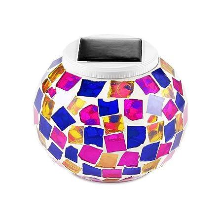 Mosaico Lámpara Solar Exterior, KEEDA Decorativo Lámpara de Mesa ...