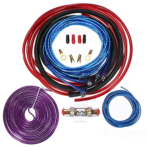 Mark8shop 6GA 1200W Car Subwoofers Amplifier Wiring Complete Cable Speaker Kit: