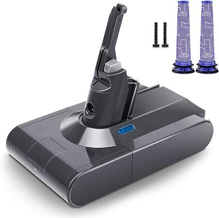 morpilot Batería de Reemplazo para Dyson V8, 21.6V 3500mAh Li-Ion, Compatible con Dyson V8 Series V8 Absolute V8 Fluffy V8 Animal SV10 Cord-Free Vacuum, con 2PCS Pre Filtros Lavables: Amazon.es: Hogar