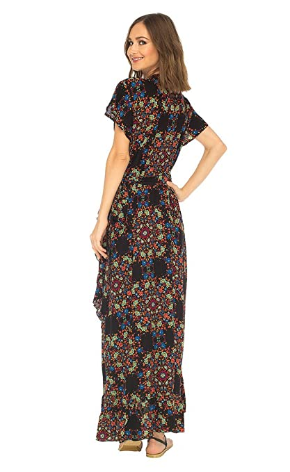 SHU-SHI Womens Long Floral V-Neck Wrap Dress Short Sleeve Maxi Boho Sundress at Amazon Womens Clothing store: