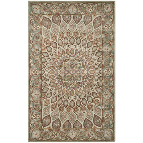 Safavieh Heritage Collection HG914B Handmade Traditional Oriental Blue and Grey Wool Area Rug (5' x 8')