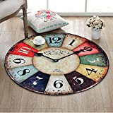DW&HX decorative rugs,Round,Europe and america retro clock,Runner area,Sofa side,Hanging basket blanket,Children mat Home Bedroom,Desk computer chair mat-E diametro80cm(31inch)