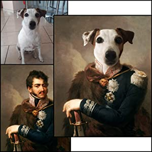 The Colonel The General The Duchess Custom Made Pet Portrait Framed Print Canvas Wall Art for Home Decor|Modern Wall Decoration|Thick Canvas Ready to Hang Printed Picture Style 5 - Framed - 45X60CM