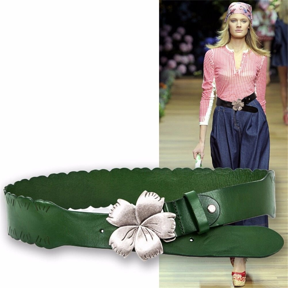 NSSBZZ Birthday gifts Flower。 Decoration. Buckle. Cowhide。 It's wide. Waist. Belt. Back to ancient times. Genuine leather。 Belt。 Women's style. Dress。 Down Jackets。 Waist,green