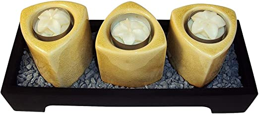 E6-21UU-Y1U8 Florettes and Decorative Gravel Closeoutservices Wooden Votive Candle Tray with 3 Ceramic Towers