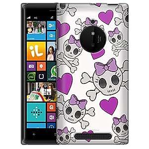 Nokia Lumia 830 Case, Slim Fit Snap On Cover by Trek Cutie Skulls Purple on White Case