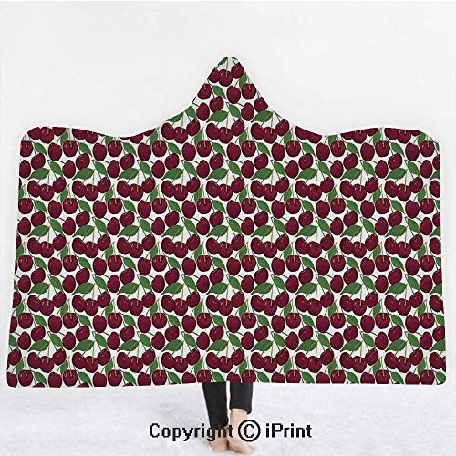 Kitchen Decor 3D Print Soft Hooded Blanket Adult Premium Throw Blanket,Lightweight Microfiber,Cherry Pattern Ripe Fresh Fruit Image Floral Country Style Image Natural Gourmet,All Season for Adult(60