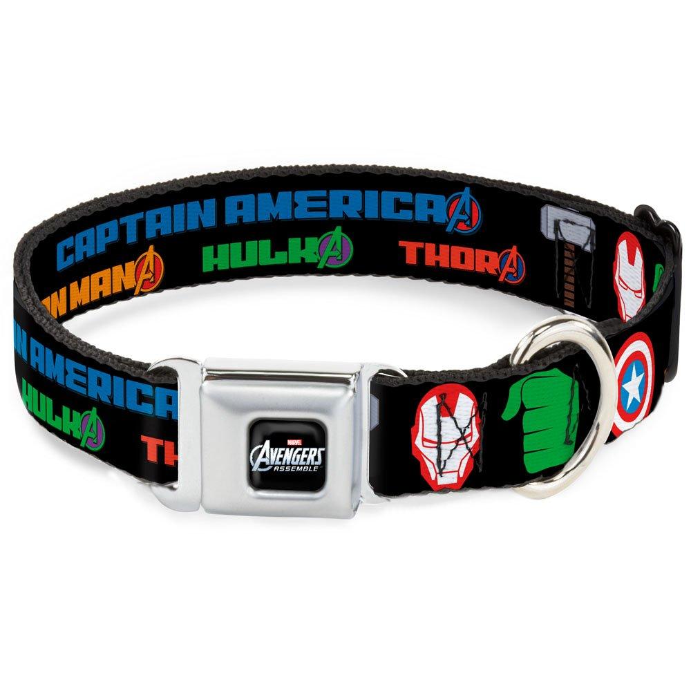 Buckle-Down DC-WAV020-WM Dog Collar Seatbelt Buckle, Black Multicolor, 1.5  by 16-23