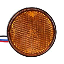 Qiilu Motorcycle Scooter Round Cover Turn Signal Light with Reflective Lens 24 SMD LED Lamp(Yellow)