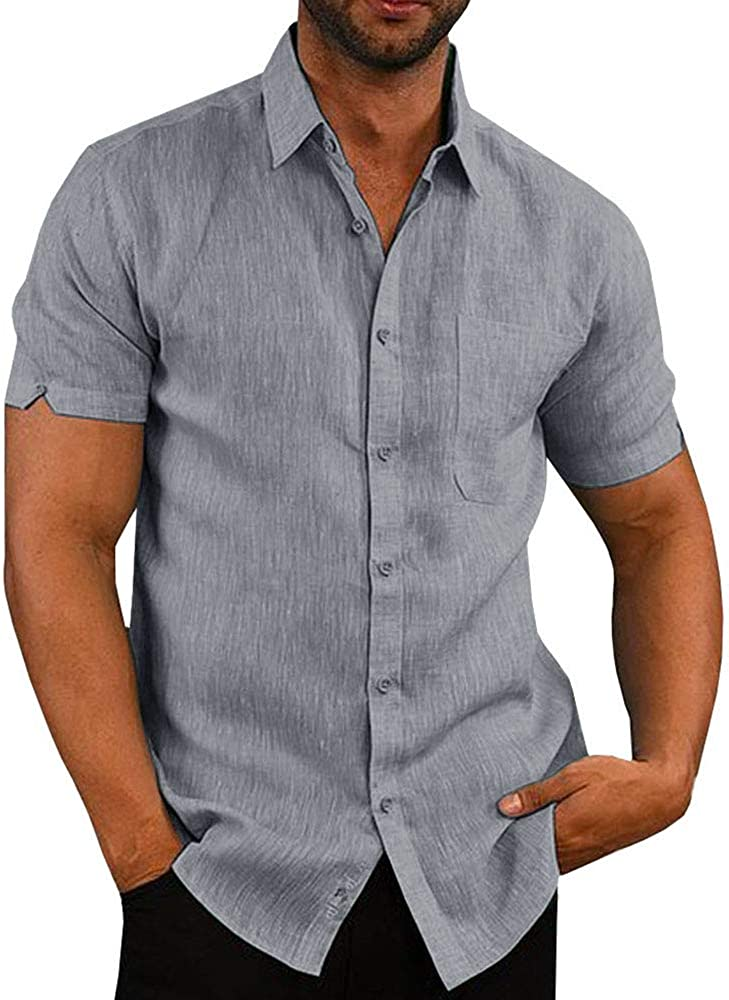 OEAK Mens Summer Short Sleeve Linen Button Down Shirt Regular Fit Casual Plain Lightweight Beach Shirt