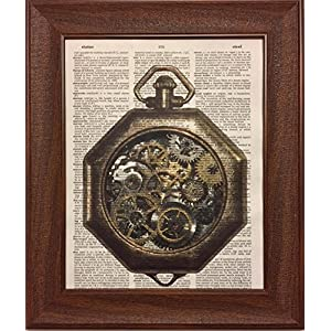 Steampunk Time Piece Watch Dictionary Book Page Artwork Print Picture Poster Home Office Bedroom Kitchen Wall Decor – unframed